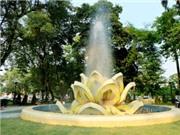 Chùm ảnh: Chiêm ngưỡng đài phun nước bông sen vàng bên Hồ Tây