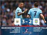 Man City 3-2 Aston Villa: 'Người hùng' Fernandinho giải cứu Man City