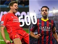 Gerrard và Xavi cùng cán mốc 500 trận cho CLB